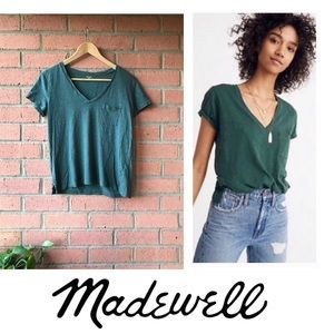 Madewell Whisper Cotton V-Neck Tee | Green | M